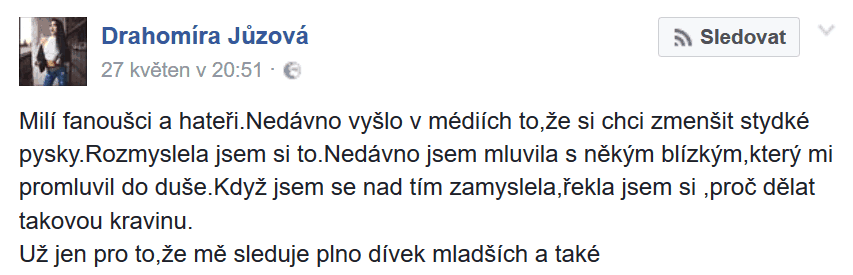 zdroj: Facebook, Drahomíra Jůzová
