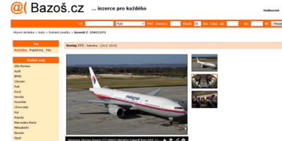 Někdo tvrdí, že našel Malaysia Boeing 777 a prodává jej na portále Bazoš